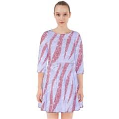 Skin3 White Marble & Pink Glitter (r) Smock Dress