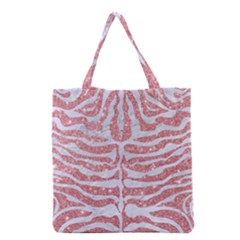 Skin2 White Marble & Pink Glitter Grocery Tote Bag by trendistuff