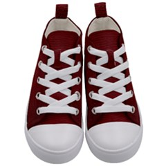 Red Lizard Leather Print Kid s Mid Top Canvas Sneakers