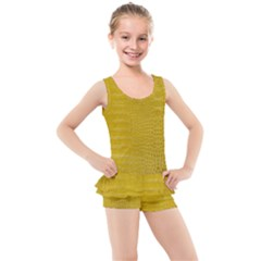 Yellow Alligator Skin Kid s Boyleg Swimsuit