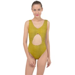 Yellow Alligator Skin Center Cut Out Swimsuit