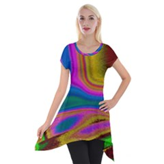 Colorful Waves Short Sleeve Side Drop Tunic by LoolyElzayat