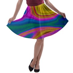 Colorful Waves A Line Skater Skirt