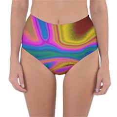 Colorful Waves Reversible High Waist Bikini Bottoms