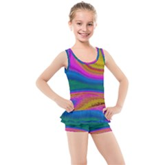 Colorful Waves Kid s Boyleg Swimsuit