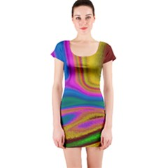 Colorful Waves Short Sleeve Bodycon Dress