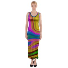 Colorful Waves Fitted Maxi Dress