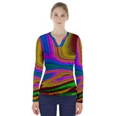 Colorful Waves V Neck Long Sleeve Top