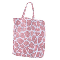 Skin1 White Marble & Pink Glitter (r) Giant Grocery Zipper Tote