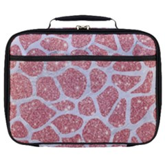 Skin1 White Marble & Pink Glitter (r) Full Print Lunch Bag
