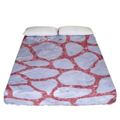 Skin1 White Marble & Pink Glitter Fitted Sheet (king Size) by trendistuff