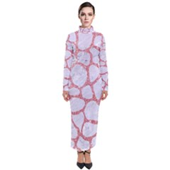 Skin1 White Marble & Pink Glitter Turtleneck Maxi Dress