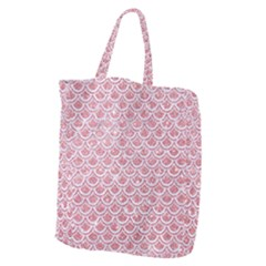 Scales2 White Marble & Pink Glitter Giant Grocery Zipper Tote