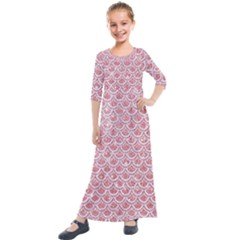 Scales2 White Marble & Pink Glitter Kids  Quarter Sleeve Maxi Dress