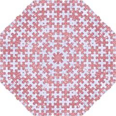Puzzle1 White Marble & Pink Glitter Golf Umbrellas by trendistuff