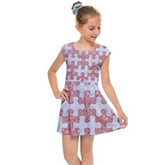 Puzzle1 White Marble & Pink Glitter Kids Cap Sleeve Dress