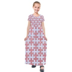 Puzzle1 White Marble & Pink Glitter Kids  Short Sleeve Maxi Dress