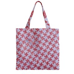 Houndstooth2 White Marble & Pink Glitter Zipper Grocery Tote Bag by trendistuff
