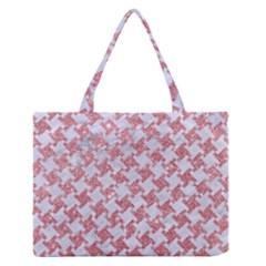 Houndstooth2 White Marble & Pink Glitter Zipper Medium Tote Bag by trendistuff