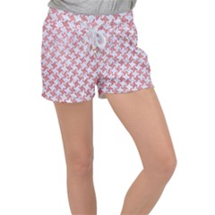Houndstooth2 White Marble & Pink Glitter Women s Velour Lounge Shorts