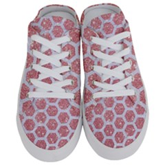 Hexagon2 White Marble & Pink Glitter Half Slippers