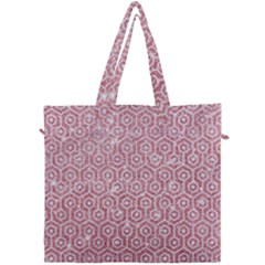 Hexagon1 White Marble & Pink Glitter Canvas Travel Bag by trendistuff