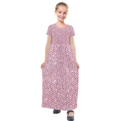 Hexagon1 White Marble & Pink Glitter Kids  Short Sleeve Maxi Dress