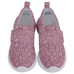 Hexagon1 White Marble & Pink Glitter Velcro Strap Shoes