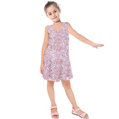 Damask2 White Marble & Pink Glitter (r) Kids  Sleeveless Dress