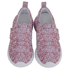 Damask2 White Marble & Pink Glitter Velcro Strap Shoes