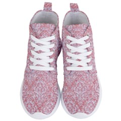 Damask1 White Marble & Pink Glitter Women s Lightweight High Top Sneakers
