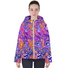 Colorful Texture                                     Women s Hooded Puffer Jacket