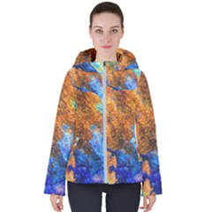 Blue Brown  Texture                                      Women s Hooded Puffer Jacket