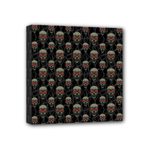 Skulls Motif Pattern Mini Canvas 4  X 4  by dflcprints