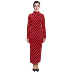 Abstract Red Art Turtleneck Maxi Dress