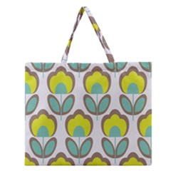 Floral Retro 70s Zipper Large Tote Bag by goodart