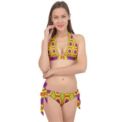 Geometric Retro Pattern Tie It Up Bikini Set