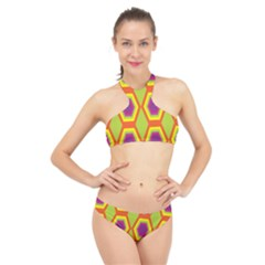 Geometric Retro Pattern High Neck Bikini Set
