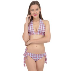Circles1 White Marble & Pink Glitter (r) Tie It Up Bikini Set