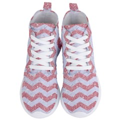 Chevron3 White Marble & Pink Glitter Women s Lightweight High Top Sneakers