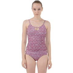 Brick1 White Marble & Pink Glitter Cut Out Top Tankini Set