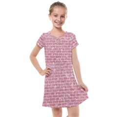 Brick1 White Marble & Pink Glitter Kids  Cross Web Dress