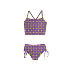Purple Yellow Swirl Pattern Girls  Tankini Swimsuit