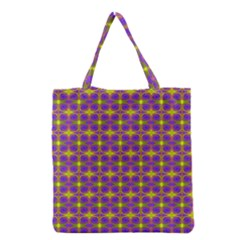 Purple Yellow Swirl Pattern Grocery Tote Bag by BrightVibesDesign