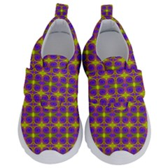 Purple Yellow Swirl Pattern Velcro Strap Shoes by BrightVibesDesign