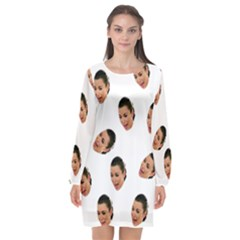 Crying Kim Kardashian Long Sleeve Chiffon Shift Dress