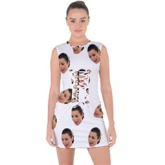 Crying Kim Kardashian Lace Up Front Bodycon Dress