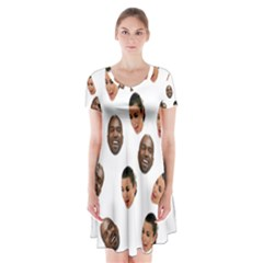 Crying Kim Kardashian Short Sleeve V Neck Flare Dress