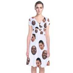 Crying Kim Kardashian Short Sleeve Front Wrap Dress