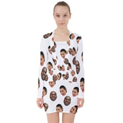 Crying Kim Kardashian V Neck Bodycon Long Sleeve Dress